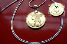 "Beautiful Bronze Egyptian Cleopatra Coin Pendant on a 30"" 925 Silver Snake Chain"