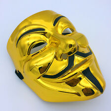 Gold V for Vendetta Guy Fawkes Mask Halloween Cosplay Costumes Fancy Anonymous