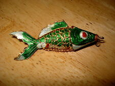 Cloisonne Enamel Articulated Koi Fish Necklace Pendant Free US Shipping
