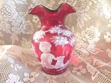 Fenton Cranberry Mary Gregory Vase Hand painted boy with dog 312 0f # 2350