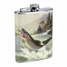 Vintage Fishing D4 8oz Hip Flask Stainless Steel Sports Fisherman Nature Hobby