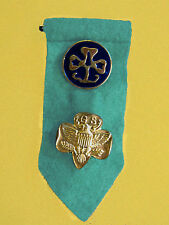 Membership & WAGGGS PIN on 1990s TAB Teal, Girl Scout Uniform Multi=1 Ship Chrg