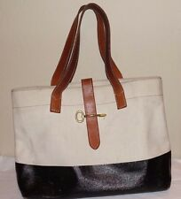 FOSSIL Canvas Beige Black Handbag Tote Shoulder Bag Leather Trim Large