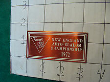 Unused Dash Plaque: New England Auto-Salom Championship 1972