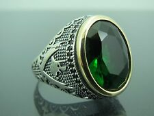Turkish Handmade Ottoman 925 Sterling Silver Emerald Stone Men's Ring Sz 10