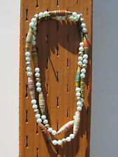 Lovely Cone Bead and Light Blue Faux Pearl Necklace