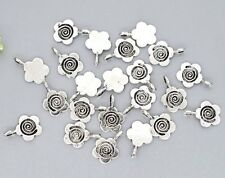 100 Antique Silver Flower Glue on Bail 11mm Dull Silver Nickle Tone