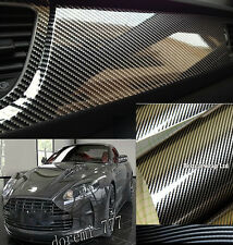 "200"" x 24"" 2D Gloss Carbon Fiber Vinyl For Car Wrapping Film Black Silver"
