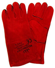 WELDING GLOVES GAUNTLETS WELDERS SWP RED PAIR PREMIUM WOODBURNER