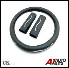 UNIVERSAL BLACK CAR VAN STEERING WHEEL COVER WITH SEAT BELT PADS GLOVE SLEEVE