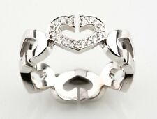 "Cartier 18k White Gold & Diamond ""C Heart of Cartier"" Band Ring Size 7 (54)"