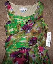NWT Maggy London Petites Green/Purple/Taupe Gauzy Grecian/Toga Dress 6P 6 P $159