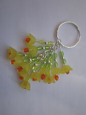 Keyring / Bag Charm - Yellow Lucite Flowers - Bunch of Daffodils