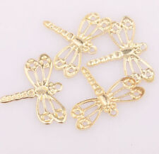 100Pcs Golden Plated Tone Lovely Dragonfly Findings Charm Pendants DIY 15mm