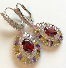 Amazing  Multi Gem Lever back earrings  925 silver