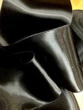 """VINTAGE 1930s DOUBLE SIDED 4"""" RAYON SATIN RIBBON Made in France BLACK SASH"""