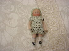1 Antique German Wirejointed Tiny Bisque Porcelain Doll Green Crochet Dress Hat