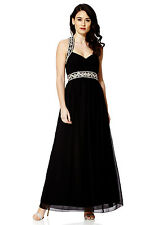 NEW Black Maxi Dress Gatsby Dress Embellished Bridesmaid Party Gown SIZE 14