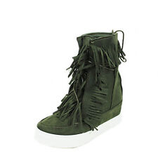 WOMENS LADIES WARM TASSLE HIGH TOP WEDGE SNEAKERS PUMPS BOOTS SHOES SIZE 3-8