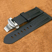 24 mm Replace Rubber Strap Silver Deployant PAM Buckle For PAM LUNMINOR RADIOMIR