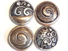 4 - 2 HOLE SLIDER BEADS TRI COLOR METAL BOHEMIAN ABSTRACT SILVER, ROSE & COPPER