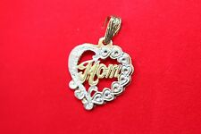 """SOLID 10K TWO TONE HEART SHAPE GOLD """"MOM"""" PENDENT 3.5 GRAMS"""