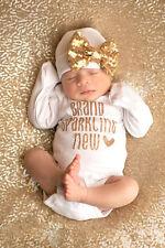2Pcs Sequins Newborn Baby Girls Bodysuit Romper Jumpsuit +Hat Outfit Clothes Set