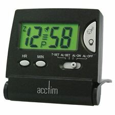 Acctim 13353 Mini Flip LCD Alarm Desk Clock, Black