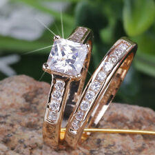 2PC Engagement Wedding w 1ct CREATED Princess Diamond 18k GP Ring 0372 size 6/L