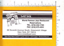 7348 Sweet Basil Jazz Restaurant c 1995 business card Greenwich Village NY music