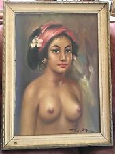 VINTAGE ORIGINAL HAWAIIAN NUDE OIL PAINTING HAWAII POLYNESIA
