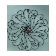 Black Metal Wall Medallion Scroll Sculpture Antiqued Finish Large Decor Art NEW