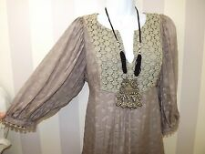 Taupe Crochet Bohemian Lace SILK Embroidered Hippie Boho FOLK SMOCK TOP 10