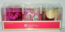 Lilly Pulitzer target GLASS VOTIVE CANDLEHOLDERS SET OF 3 PINK FLOWER GOLD NEW