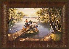 SUNFISHING by Ken Zylla Children Fishing Dock Lake Boat 11x15 FRAMED PICTURE ART