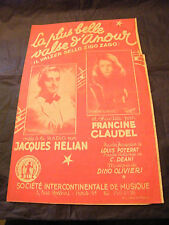 Partition La plus belle valse d'amour Jacques Hélian Claudel 1946  Music Sheet