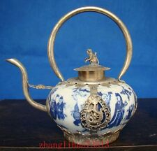 Antique Chinese Handmade Silver & Porcelain Inlaid Teapot White and Blue