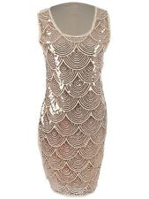 Women's S/M Fit Beige Pink Sequin Embellished Scallop Fishscale Pattern Dress