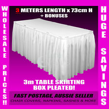 3 Meter White Table Skirting Skirt Table Cloths Wedding Events Party + BONUSES