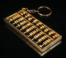 "Copper Crafted Gold Gilt Chinese Traditional Calculator Abacus Key chain 2"" NEW"
