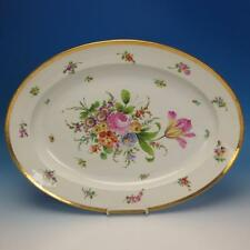Meissen Crossed Swords - Flower Decorated Gold Band - Oval 19x14 Serving Platter