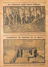Résistances Tranchées Soldats de Belgique à Anvers/Ambulance de France WWI 1914