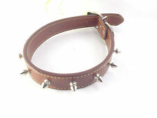 """Brown Leather Dog Pet METAL SPIKED Leather Collar 18"""" Diameter Approx"""
