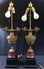French Bronze Lamps-Neo-Classical--Fine Patina--Marble Bases--Horses--Buy It Now