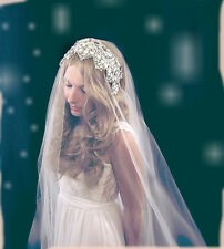 Drop veil Pearl Headband Gatsby 1920's Vintage Inspired 1 Tier 1t veil wedding