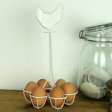 Metal Egg Holder Chicken Basket Kitchen Six Cream Beige