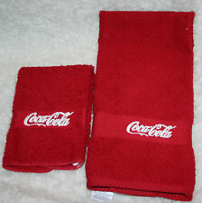 """Coca Cola"" 1 Red Hand towel & 1 cloth w/white thread embroidered"