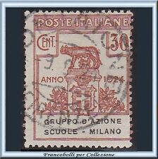 1924 Italia Regno Enti Semistatali GRUPPO D'AZIONE SCUOLE MILANO n. 40 Usato