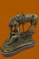 Horse Cowboy Lover Western Saddle Ranch Farm Art Bronze Marble Statue Sculpture