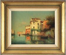 Noel Georges Bouvard Impressionist Oil Painting Venice City Signed 1 of Pair